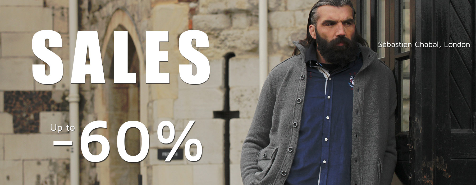 Ruckfiled and Sebastien Chabal SALES ! Up to -60% on all the e-store. Rugbywear for men big size XXL XXXL XXXXL