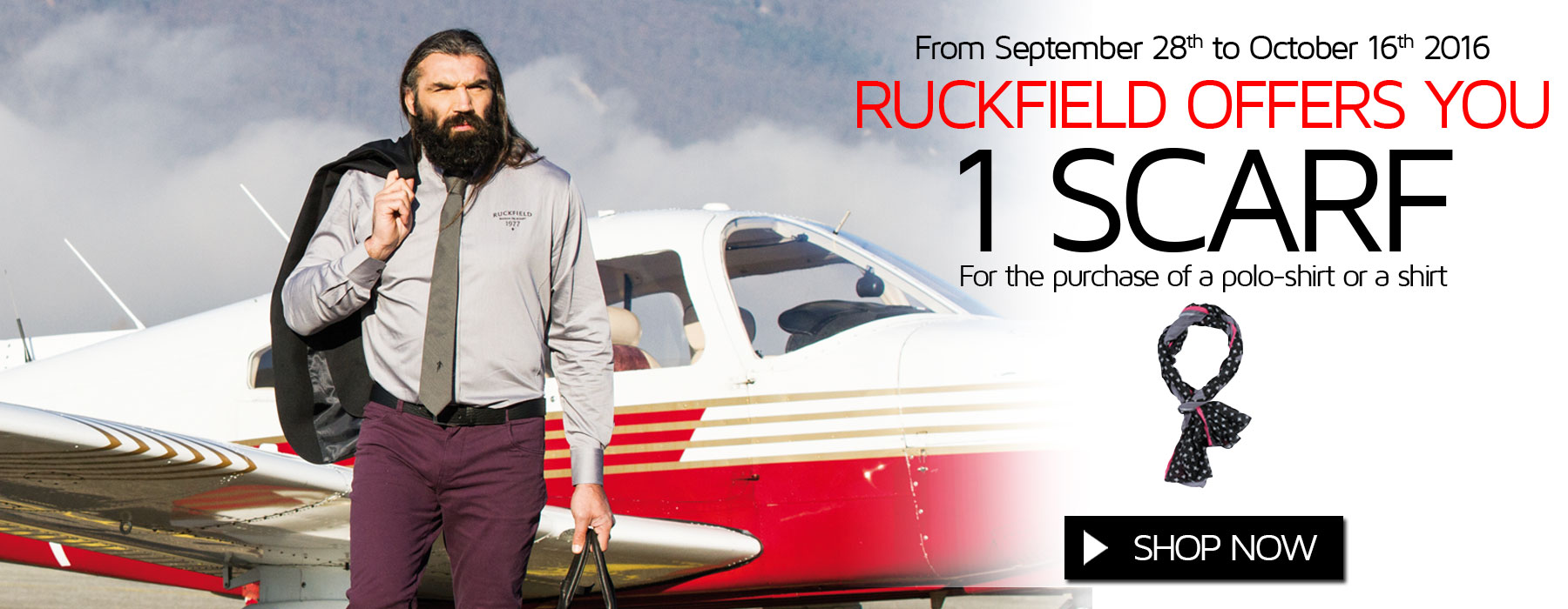 Ruckfiled and Sebastien Chabal offer you a scarf for the purchase of a rugby polo-shirt or a shirt