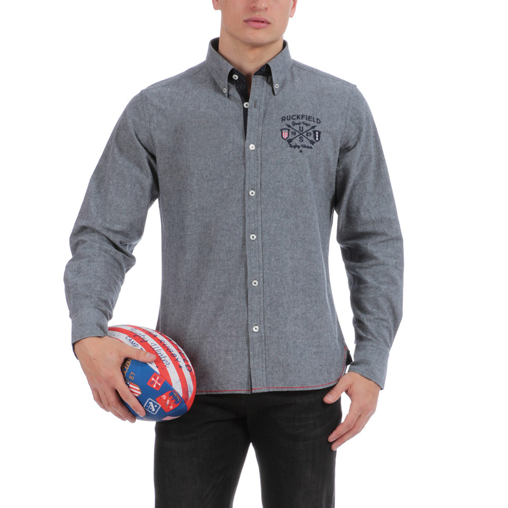 chemise en flanelle grise hiver rugby chemise rugby manches longues hauts homme ruckfield. Black Bedroom Furniture Sets. Home Design Ideas