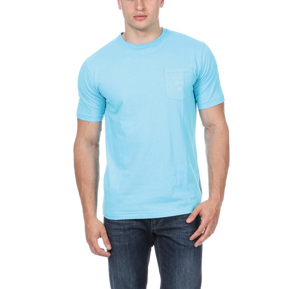 T shirt bleu avec poche ruckfield - T shirt avec photo ...