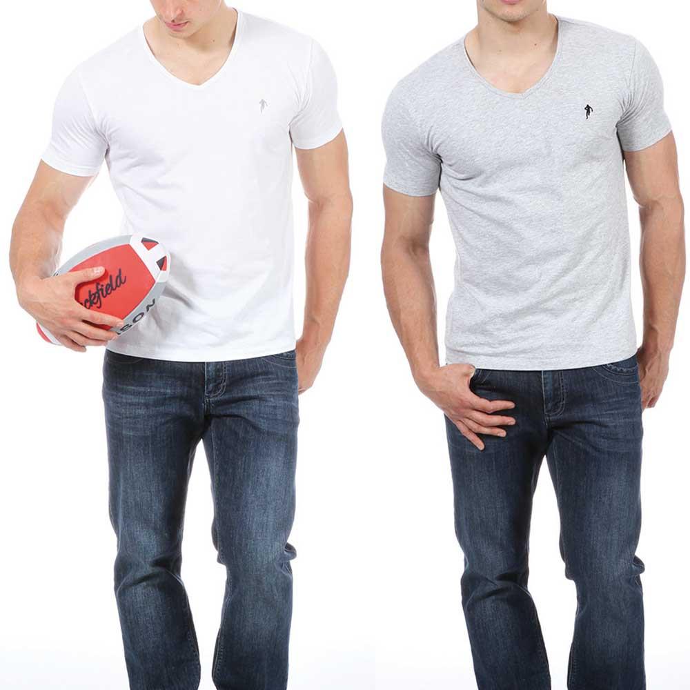 lot de 2 t shirts gris et blanc t shirt hauts homme. Black Bedroom Furniture Sets. Home Design Ideas