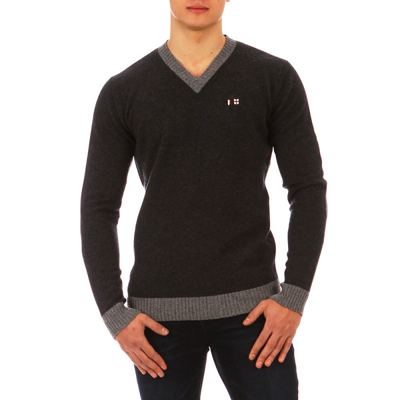 Pull col V The Crunch gris anthracite