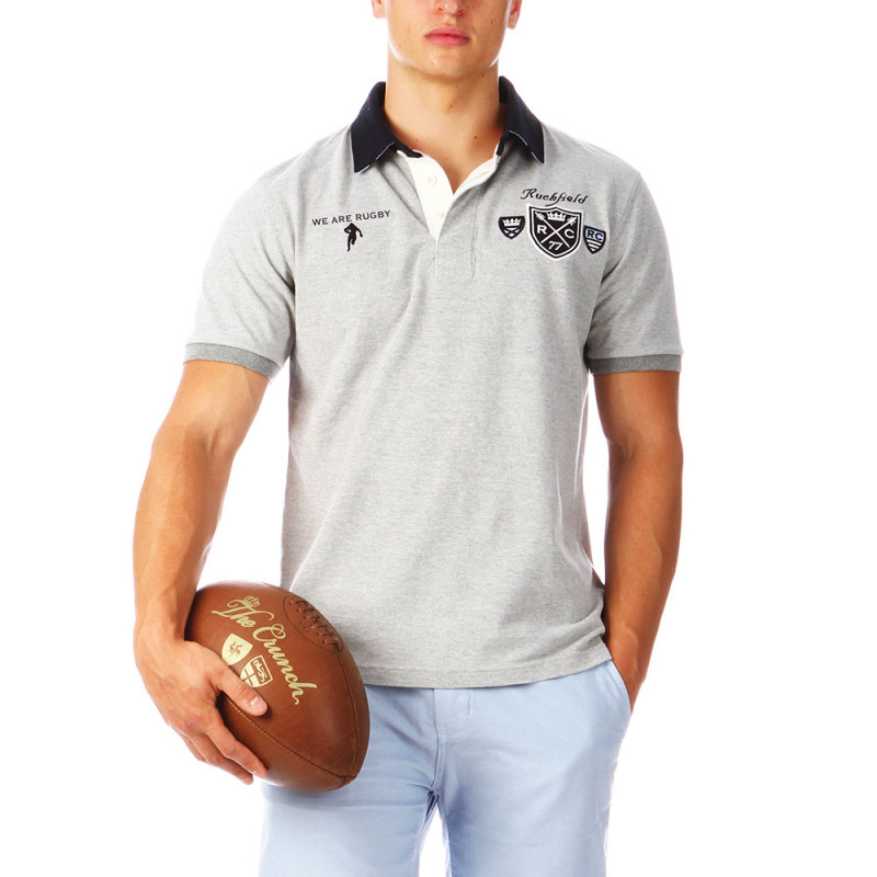 Polo gris chiné rugby homme