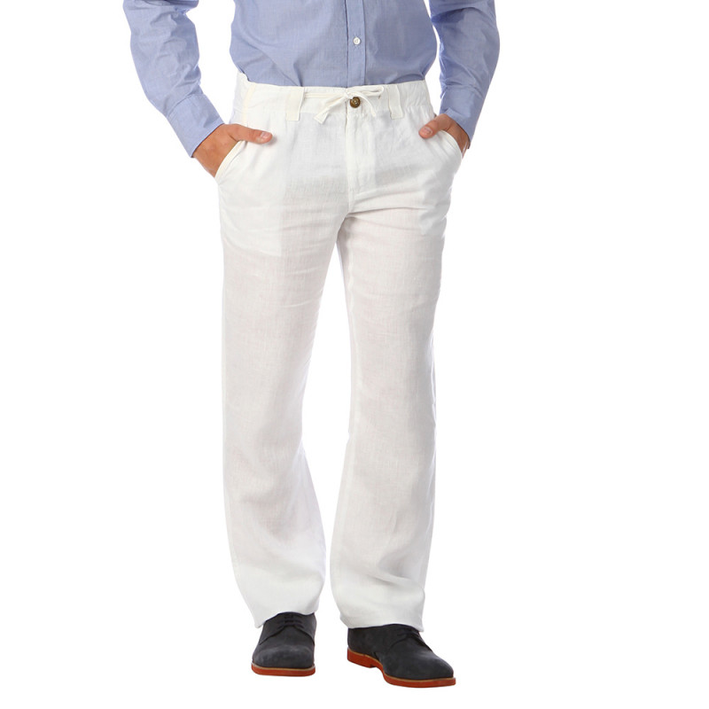 pantalon en lin blanc jeans et pantalons bas homme. Black Bedroom Furniture Sets. Home Design Ideas