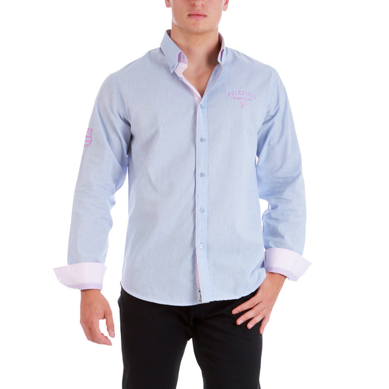 Chemise en lin bleu clair
