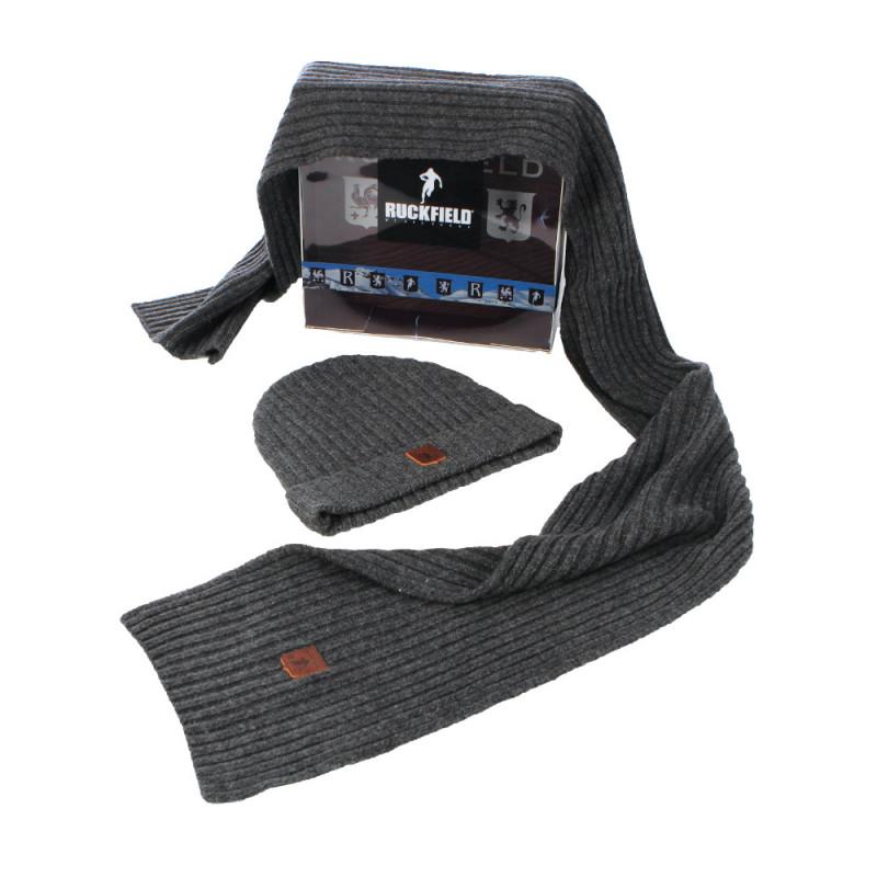 Pack bonnet + écharpe gris