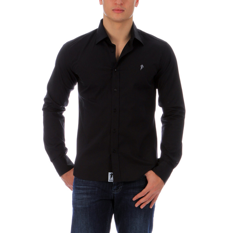 Chemise unie noire rugby