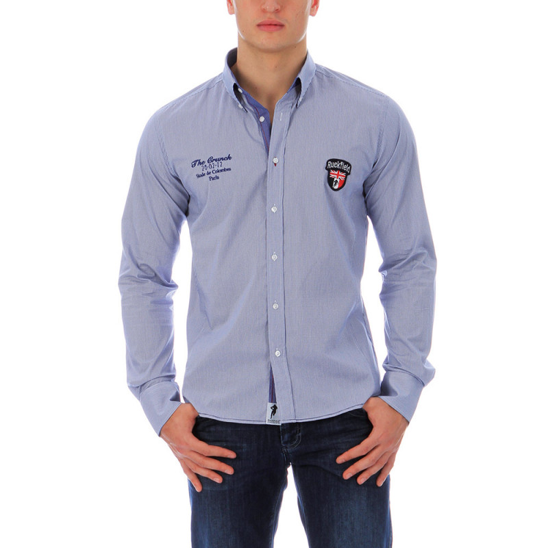 Chemise bleue rugby homme