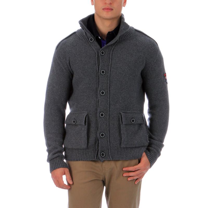 Cardigan gris en laine Chabal