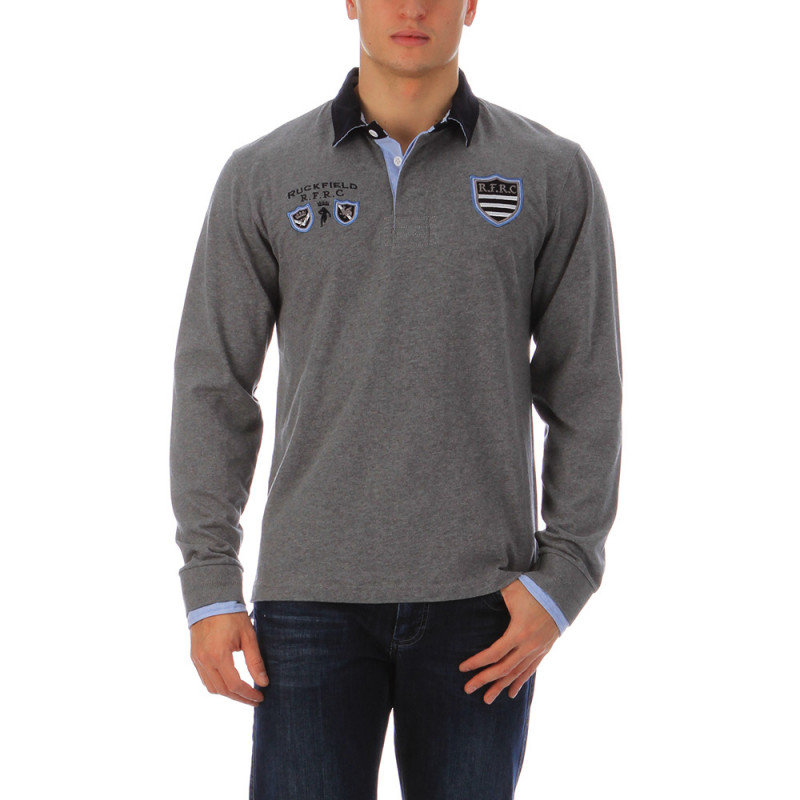 Polo rugby gris chiné