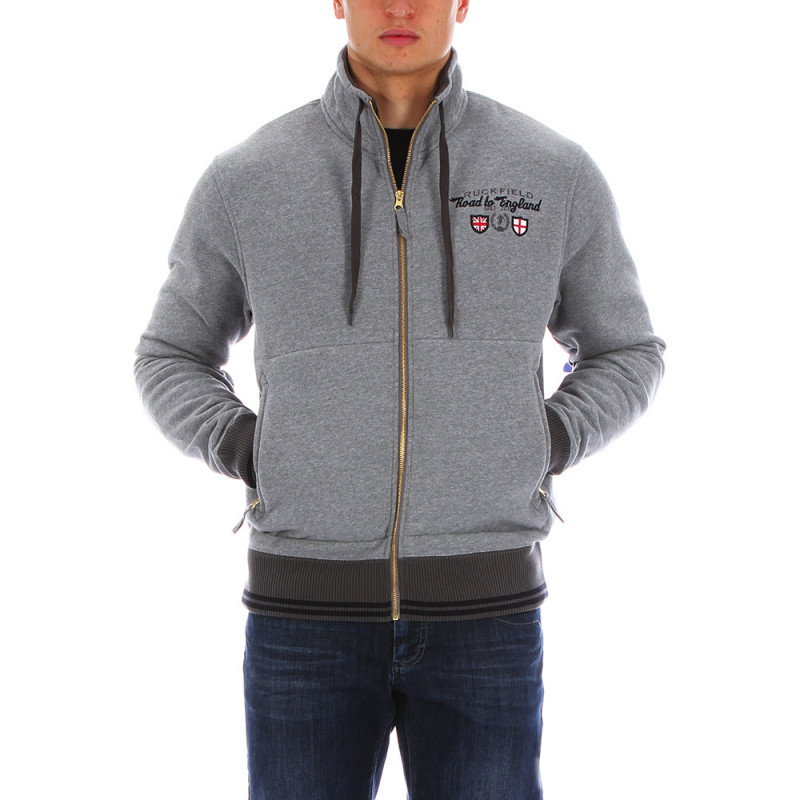 Sweat zippé de rugby gris