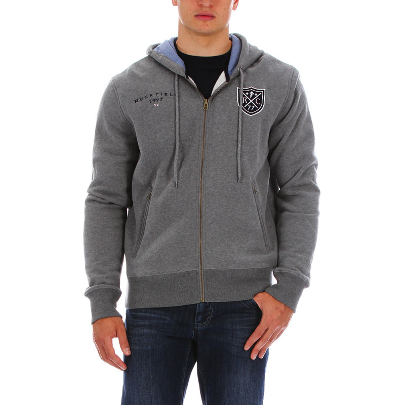 Sweat zippé gris chiné capuche