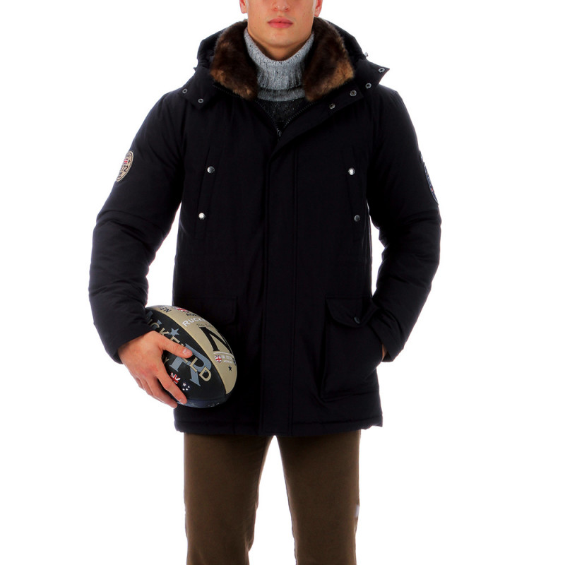 Parka noir outdoor rugby camp