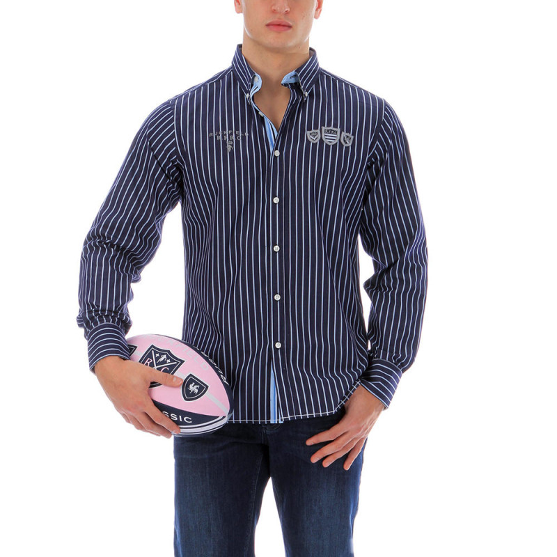 Chemise bleu à rayure rugby 1977