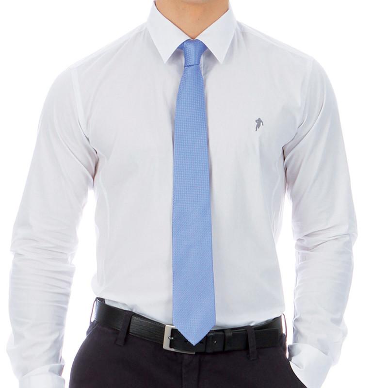 Cravate imprimé en soie bleu
