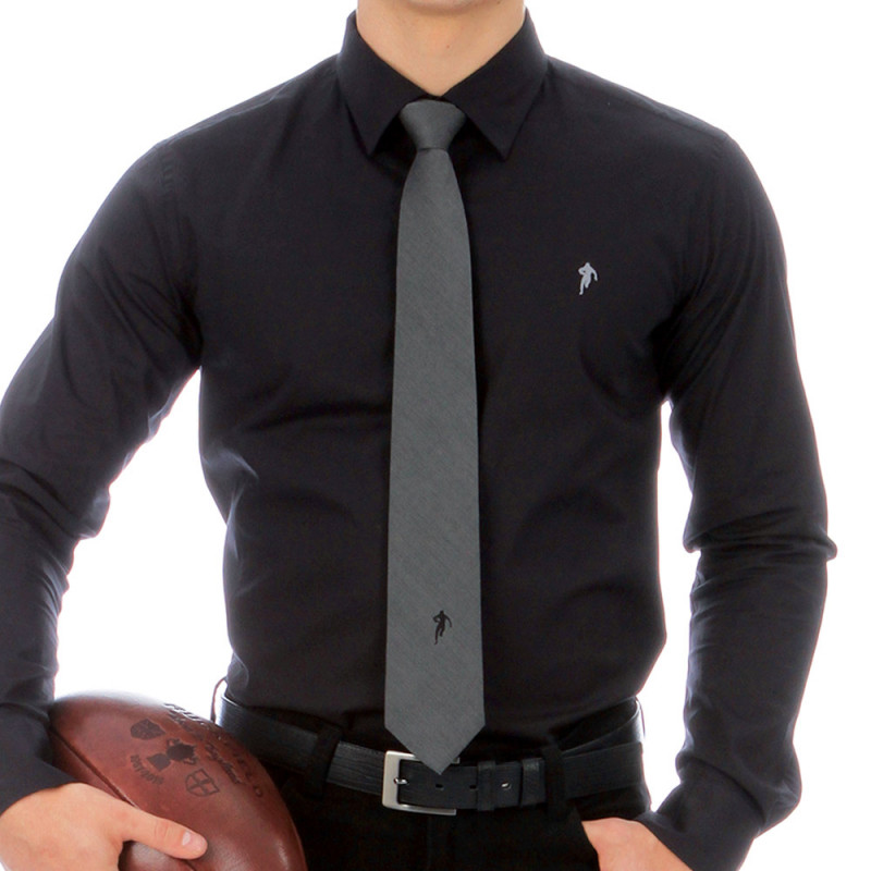 Cravate imprimé soie grise