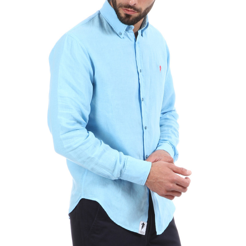 Chemise 100% lin Turquoise