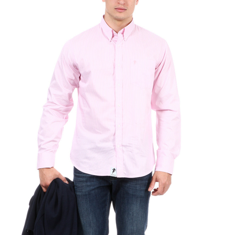 Chemise à rayures roses homme
