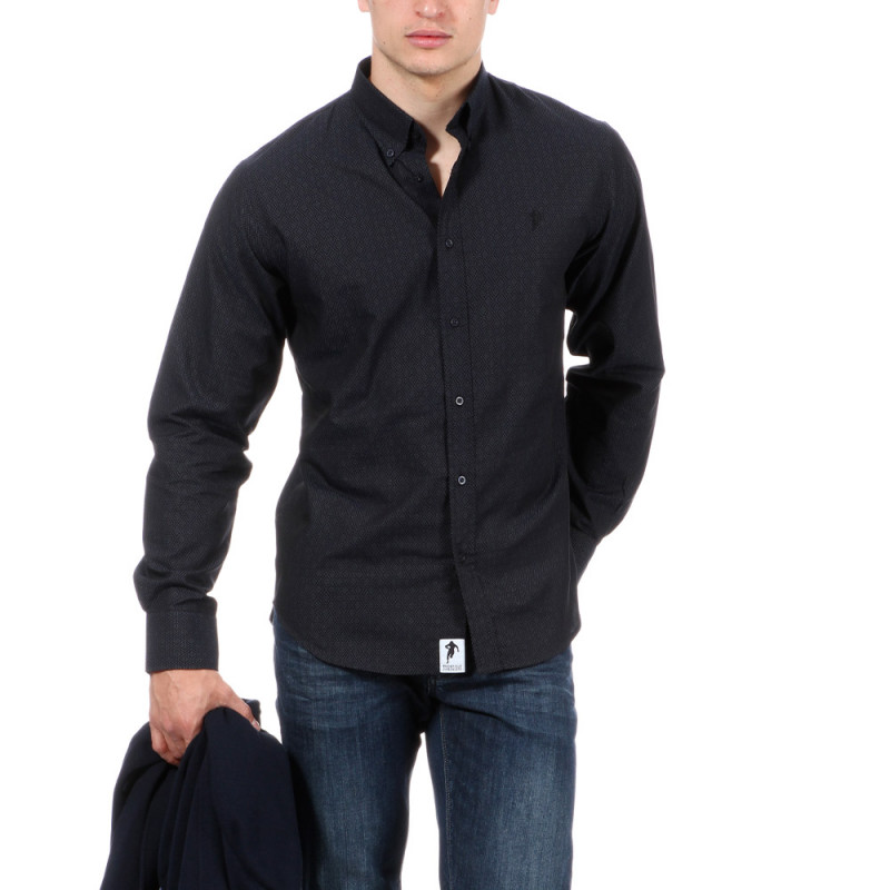 Chemise indigo avec motifs rugby
