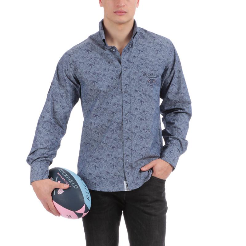 Chemise bleue imprimée Rugby