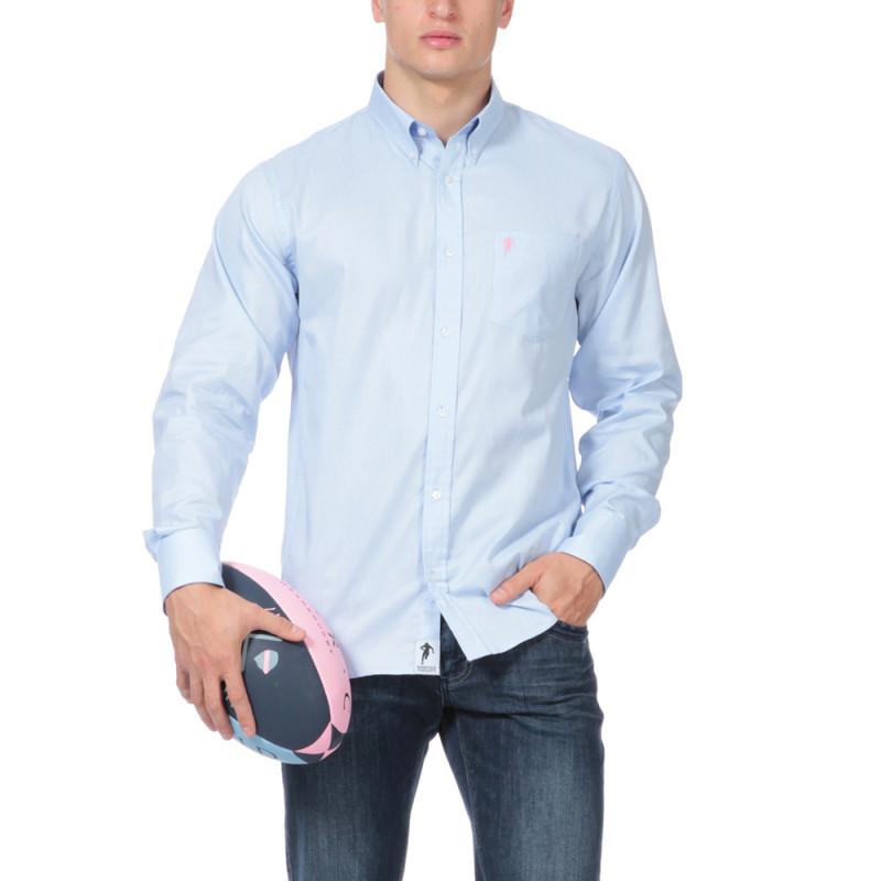 Chemise bleu unie avec poche