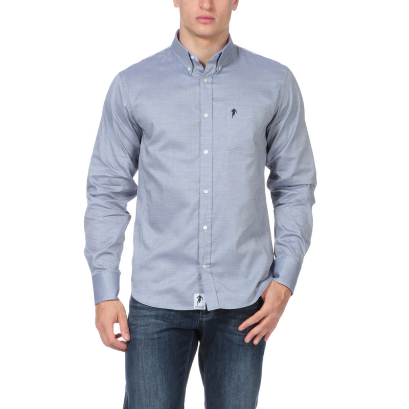 Chemise bleue avec poche Rugby
