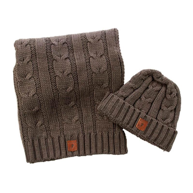Kit bonnet et écharpe rugby gris