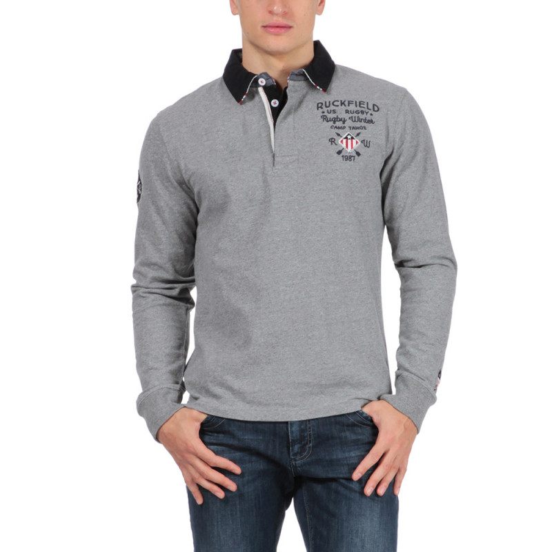 Polo en coton gris outdoor rugby