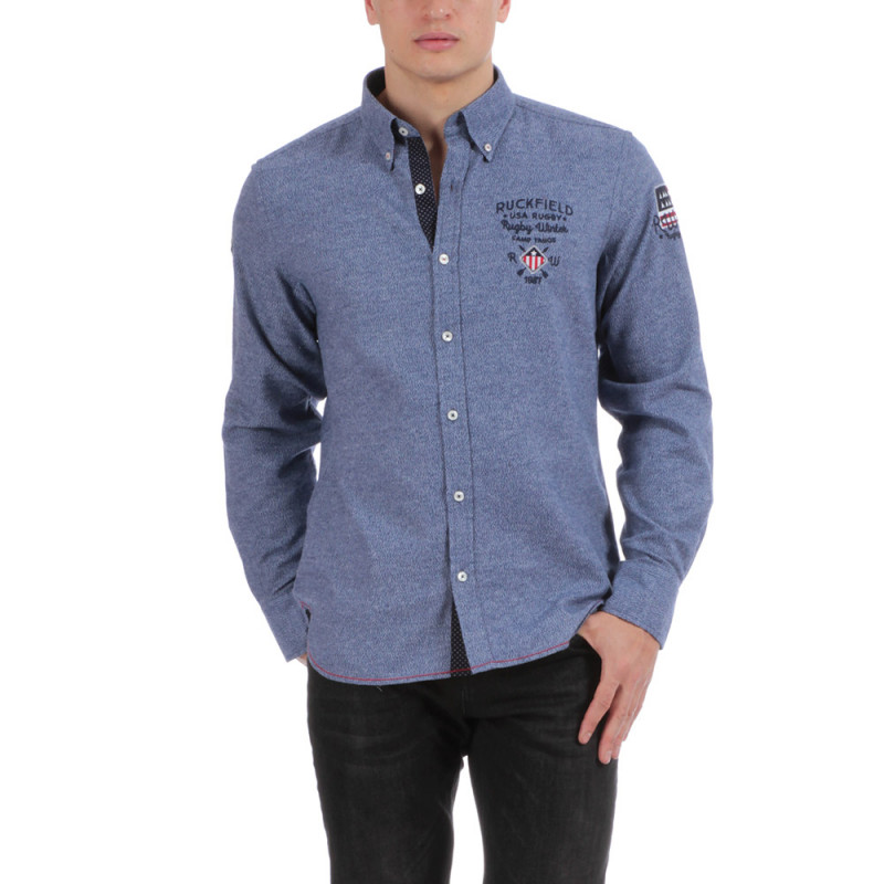 Chemise manches longues bleue Rugby
