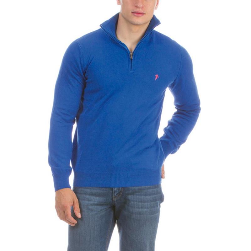 Pull demi zippé rugby bleu