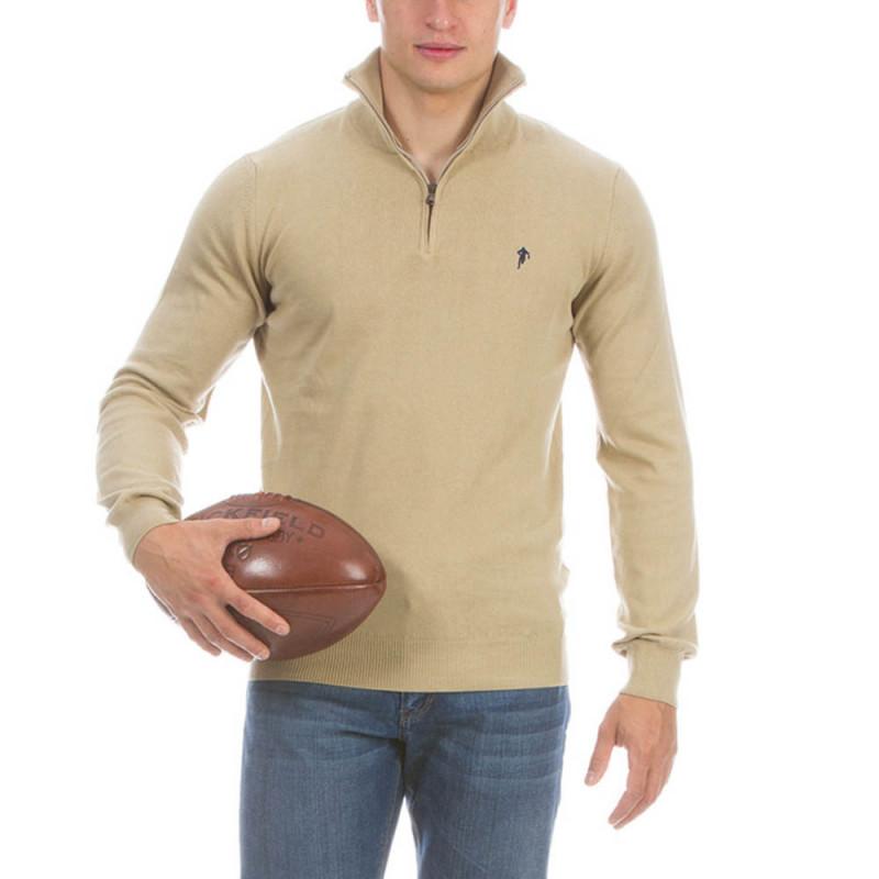 Pull demi zippé rugby beige