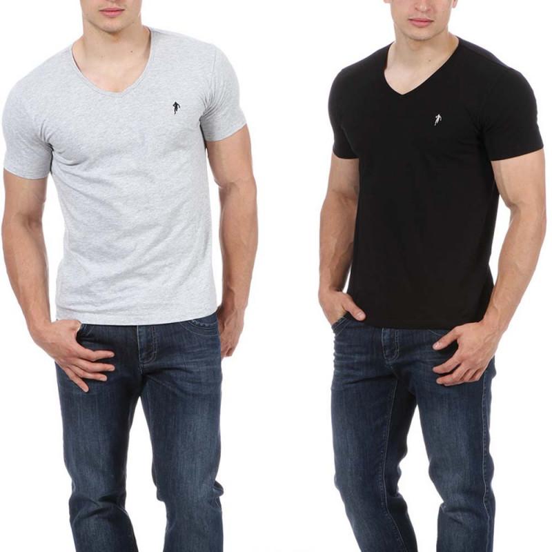 Lot de 2 t-shirts gris et noir