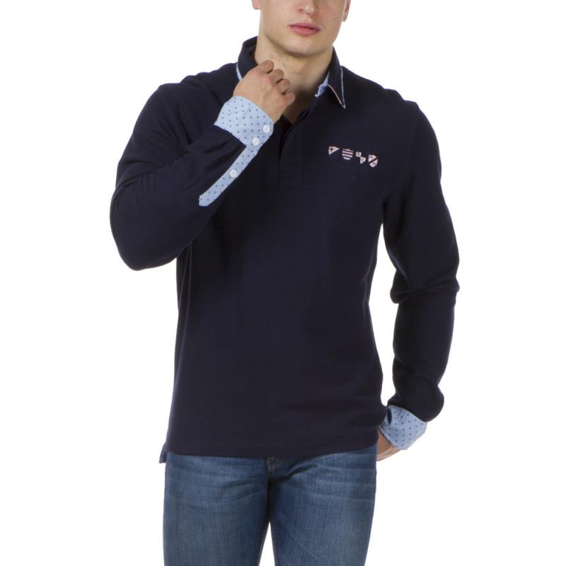 Polo marine poignets chemise