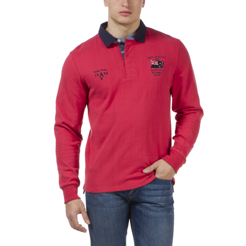 Polo rugby rouge Outdoor