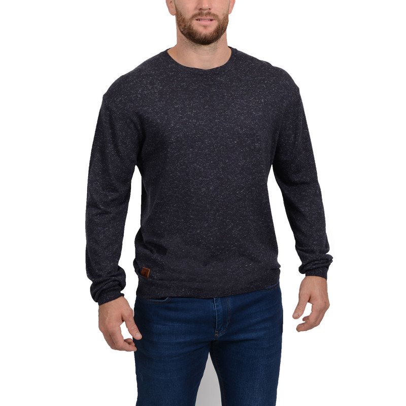 Pull col rond marine