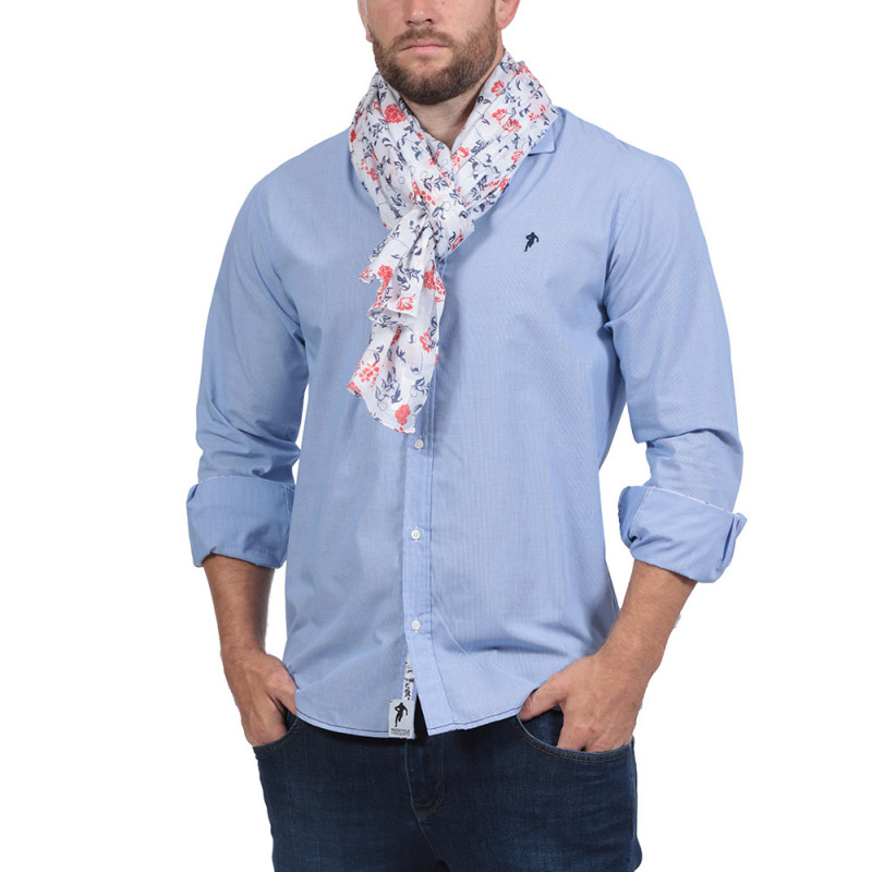 Chemise Bleue Rugby Flower