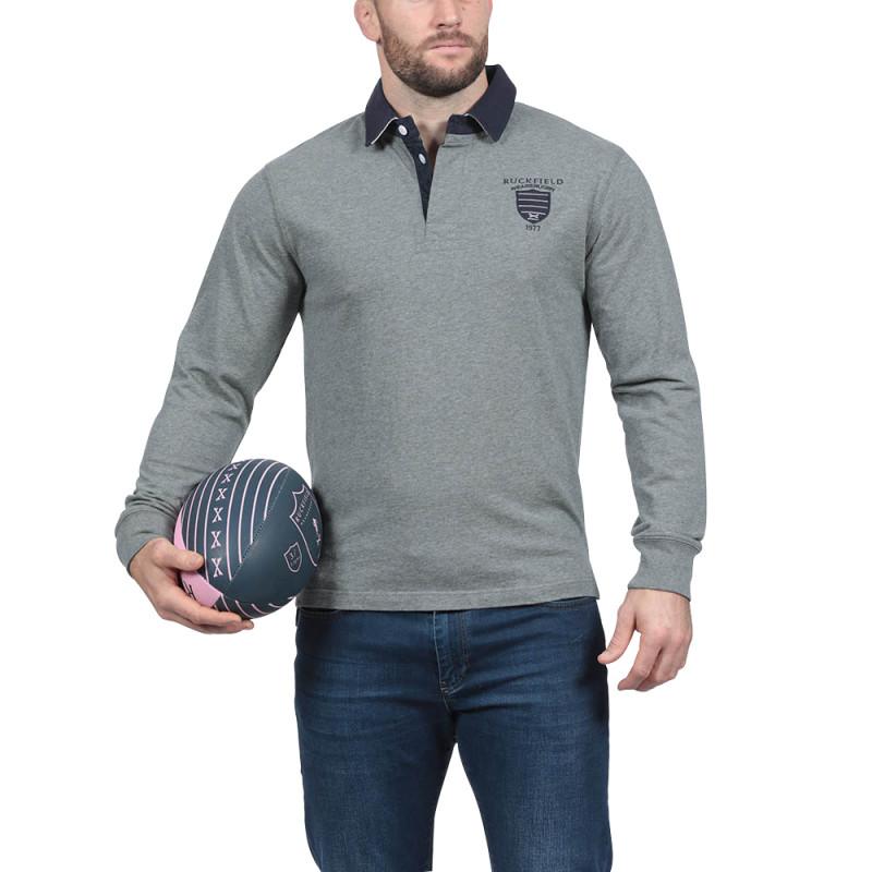 Polo de rugby gris