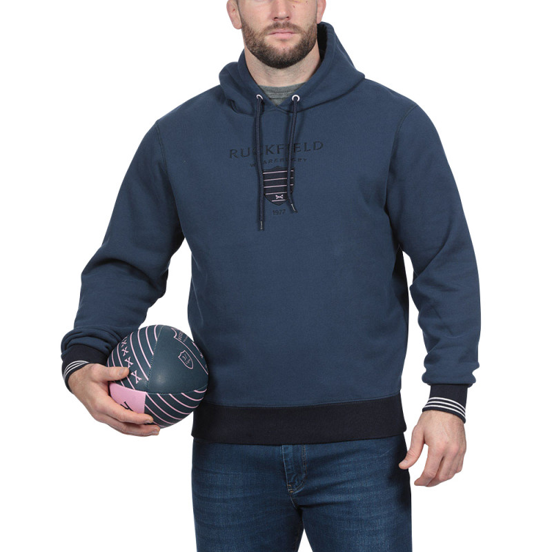 Sweat capuche bleu rugby