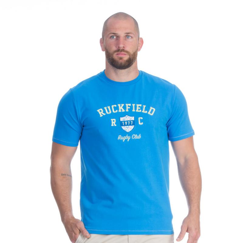 T-shirt bleu rugby flowers
