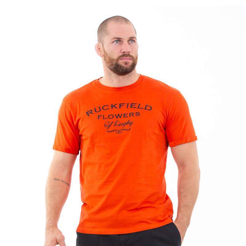 T-shirt orange rugby flowers