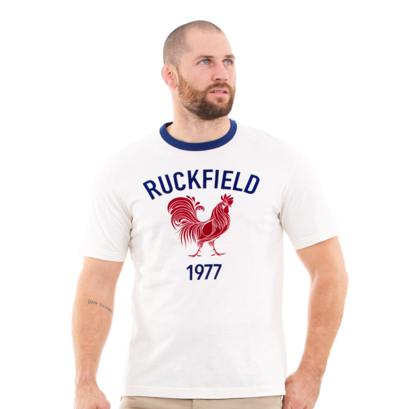 T-shirt vintage blanc rugby
