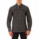 Chemise  Test Match grise rayée noir