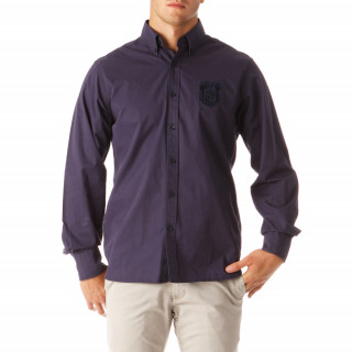 Chemise manches longues marine en 100% coton pour homme