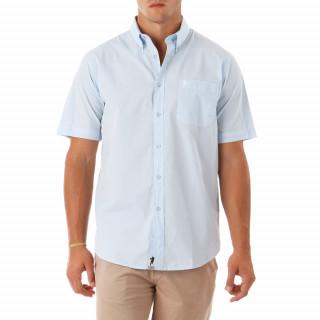 Chemise manches courtes unie blanche, 100% coton. Silhouette Sébastien Chabal brodée poitrine. Disponible en grande taille (jusqu'au 5XL)