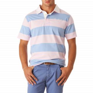 Polo manches courtes rose/ciel, 100% coton.
