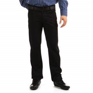 Pantalon uni noir en coton avec broderies ton sur ton pour homme