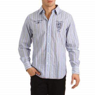 Chemise rugby New Zealand 100% coton rayé bleu, jaune, blanc pour homme.