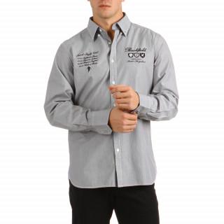 Chemise à manches longues en 100% coton avec rayures noires et blanches pour homme.