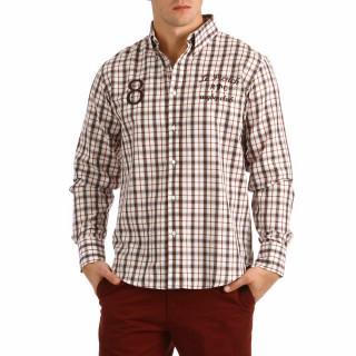 Chemise à manches longues pour homme avec carreaux avec broderies sur la poitrine et coudières.
