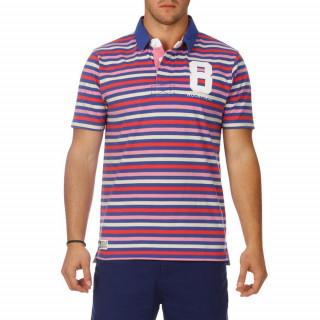 Polo tricolore rayé rose, bleu et blanc à manches courtes pour homme.